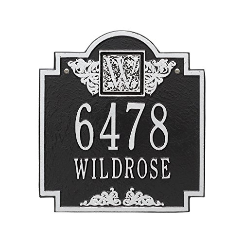 (Whitehall Products Monogram Standard Wall Square Black/Silver 2-Line Address Plaque)