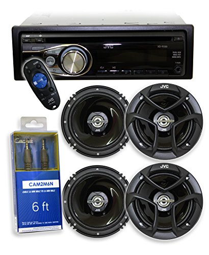 "JVC KD-R330 CD Reciever/USB + 4 JVC CS-J620 6.5"" (2 Pairs) + Free Audio Auxilary Cable"
