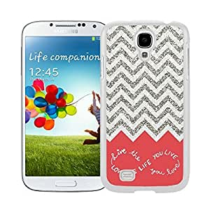 Smart Samsung Galaxy S4 Case Soft Silicone Rubber White Phone Cover Design For You Colorful Chevron Pattern Live the Life You Love, Love the Life You Live