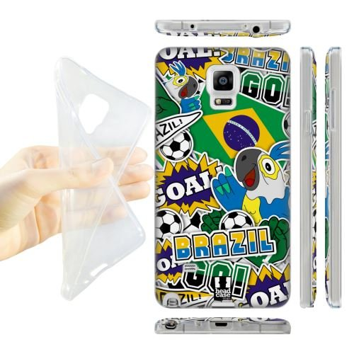 Head Case Designs Brazil Football Country Icons Soft Gel Back Case Cover for Samsung Galaxy Note 4