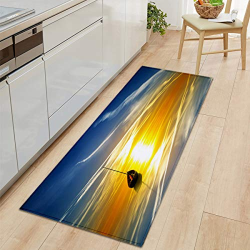 Bold Creative Printing Flannel Carpet Door Carpet Bath mat Kitchen Living Floor mat Super Soft and Cozy Sea Sunset Boat mirroring Water Blue Sky Harmony Modern Living Room and Bedroom Soft Cozy Rug (Comfort Harmony Cozy Cart Cover)