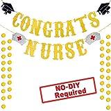 Nurse Graduation Party Decorations Congrats Nurse Banner Gold Red Glitter 2019 Graduation Medical School Hospital Party Supplies Favor