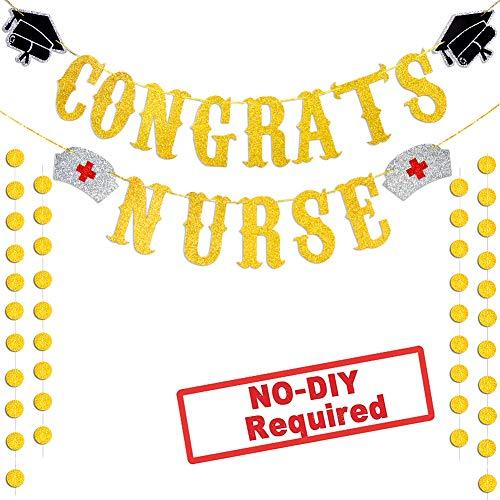 Congrats Nurse Banner, Nurse Decorations - Assembled - Nurse Party Decorations | Nurse Graduation Party Supplies 2019,Medical Nurses Nursing Party Graduation Decorations