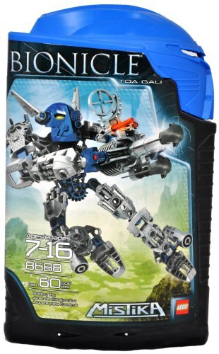 Lego Year 2008 Bionicle Mistika Series 6-1 / 2 Inch Tall Figure Set # 8688 - Blue TOA GALI with 2 Foot-Mounted Jet