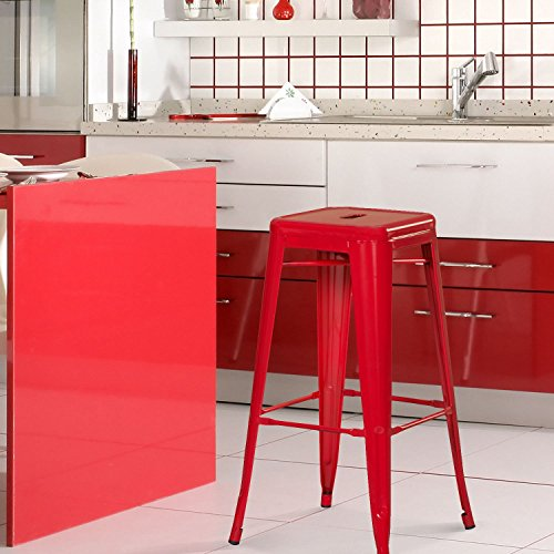 Asense 30 inch counter barstool four legs backless color pai