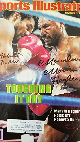 Framed Roberto Duran Marvin Hagler Autographed Magazine Cover with Certificate of Authenticity
