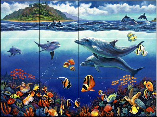 Ceramic Tile Mural - Reef Serenade - by John Zaccheo - Kitchen backsplash / Bathroom shower