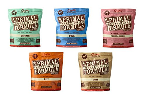 Primal Freeze Dried Dog Food 5.5oz Variety Pack 1 of Each Flavor (5 Total Units) (Dog 5 Pack 5.5oz Variety 1 of each flavor)