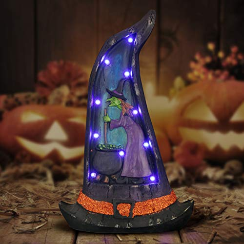 Stone Marquee Halloween (Exhart Witch Hat LED Marquee Lights - Witch w/Cauldron Halloween Hat Purple Halloween Lights - Resin Witch Statue 10.6