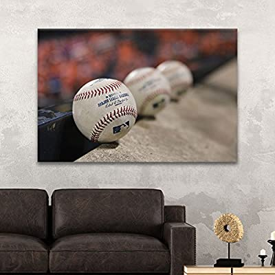 Canvas Wall Art Sports Theme - Close up Baseballs - Giclee Print Gallery Wrap Modern Home Art Ready to Hang - 12x18 inches