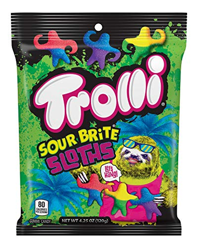 Trolli Sour Brite Sloths Gummy Candy, 4.25 Ounce Peg Bag (Pack of 12) (Shaped Sloth Candy)