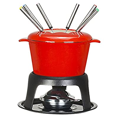 VonShef Fondue Set - Stylish Red Cast Iron Porcelain Enamel - For All Styles of Fondue Such As Cheese And Chocolate