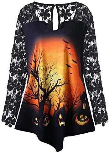 Halloween Shirts for Women Lace Fashion Pumpkin Patchwork Asymmetrical T-Shirt Tops Blouse Sweatshirt Pullover