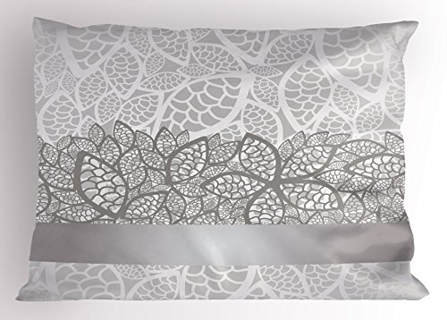 Pillowcase Lace Standard (Ambesonne Grey Pillow Sham, Lace Inspired Flower Motifs Bridal Composition Stylized Leaves Wedding Theme, Decorative Standard Size Printed Pillowcase, 26 X 20 Inches, Gray Pale Grey White)