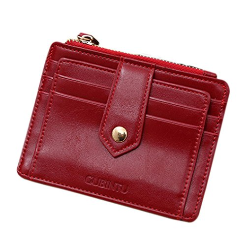 Ruhiku Mini Leather Zipper Credit Card ID Holder Money Clip Wallet (Red)