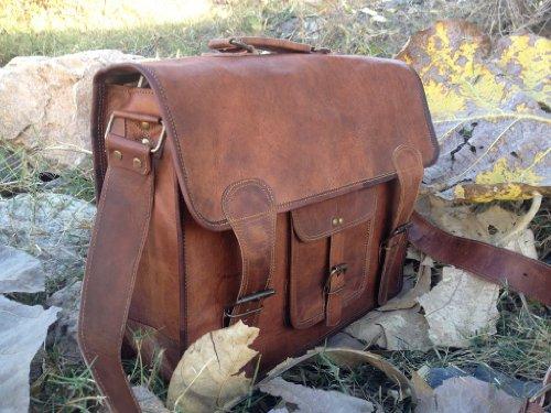 True Grit Leather  TGL Wilderness Messenger, Borsa Messenger  Donna Unisex adulti Uomo Marrone Brown 35,5 cm