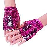 Mermaid Gloves - Dragon Paws Reversible Magic Sequin Fingerless Gloves Bracelet- Dance Birthday Party Favors Christmas Gifts for Kids Girls Women (Silver-Rose)