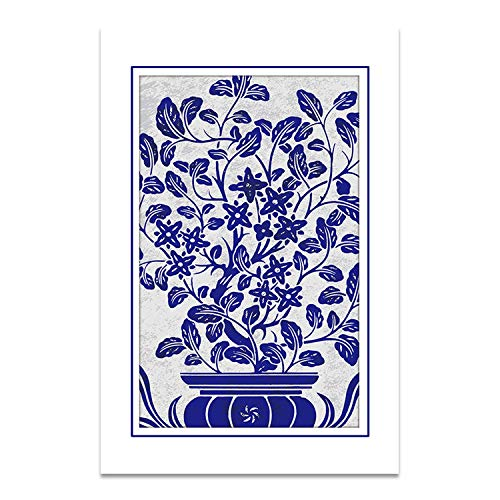 Memoirs- Chinese Blue and White Flower Vase Patterns Posters and Prints Canvas Painting Art Wall Pictures for Living Room Home Decor,28x36cm No Frame,c ()