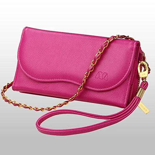 Cell Accessories For Less (TM) Hot Pink Posh MyJacket Luxury Wallet With Strap Lanyard Case Phone Holder for T-Mobile Revvl Bundle (Stylus & Micro Cleaning Cloth) - By TheTargetBuys