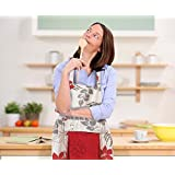PeakHut Poly-Cotton Women Kitchen Apron Water Resistant with Removable Towel - Adjustable Neck Strap and Waist Tie - Perfect For Cooking, Baking, BBQ . (Cream Brown Flower)