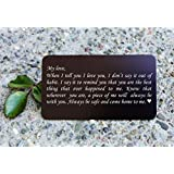 Engraved Aluminum Wallet Love Note Insert, Metal Wallet Card Insert, Mini Love Note - Deployment Gift for Him, Anniversary Gift, Boyfriend Gift, Husband Gift - WC02
