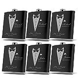 Set of 6, Set of 3, Single - Personalized Flask, Groomsmen Gift, Customized Groomsman Flasks, Wedding Favors, Matte Black … (6)