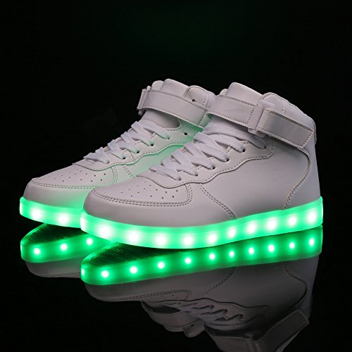 Scarpe Da Equitazione Light Up Light Lampo Led Luminoso Top Sneakers Alte 11 Colori Uomo Bambino Ricarica Usb 05white