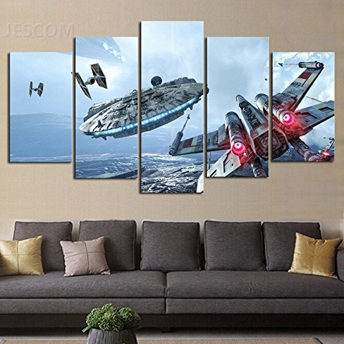 JESC HD Print 5 pcs canvas Wall Art Star Wars Painting Canvas Modern for Living Room Decor Size 30x50cmx2,30x70cmx2,30x80cmx1 (A, With Wood Frame)