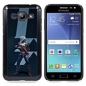 "Qstar Arte & diseño plástico duro Fundas Cover Cubre Hard Case Cover para Samsung Galaxy J2 / J200 (Futuro Guerrero"")"