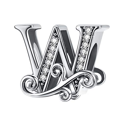 BAMOER 925 Sterling Silver Initial Letter W Charms for Snake Chain Bracelet Necklace Alphabet Beads