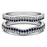 Silver Double Row Pave Set Curved Ring Guard with Diamonds and Sapphire (0.51 ct. twt.)