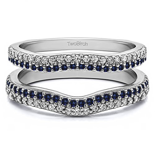 Silver Double Row Pave Set Curved Ring Guard with Diamonds and Sapphire (0.51 ct. twt.) by TwoBirch