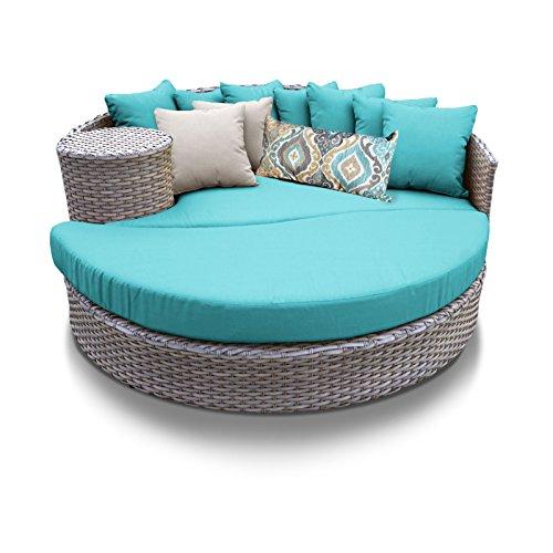 Oasis Wicker Cushion (TK Classics Oasis Outdoor Wicker Patio Circular Sun Bed Furniture, Aruba)