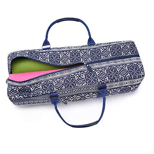 Fremous - Bolsa para Esterilla de Yoga Todo en uno, Lona Estampada con Bolsillo y Cremallera, Chinese Style