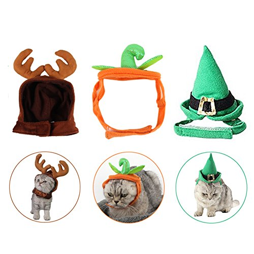 Pet Halloween Christmas Hat, 3 PCS Cute Holiday Hat Pumpkin Hat + Antlers Hat + Top Hat for Cat Small-sized Dog By Rely2016