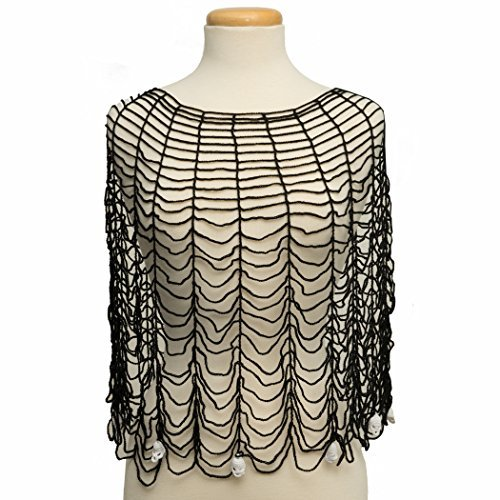 Heritage Lace Halloween Spider Web Gothic Poncho with Skull Trim by Heritage Lace, 36