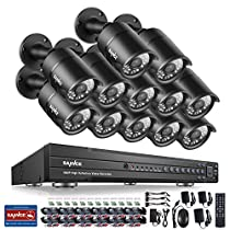 SANNCE 1080P 16CH Video Security System and (12) HD 1080P Bullet Cameras with IP66 Weatherproof Housing, 100ft IR LED Night Vision, Motion Detection