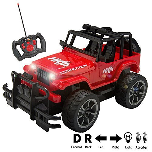 1/15 Scale Super Duty Radio Remote Control Jeep Vehicle Off Road Powerful Cross Country SUV All Terrain Car with Lights & Sounds, Great Gift for Kids ( Red ) ()