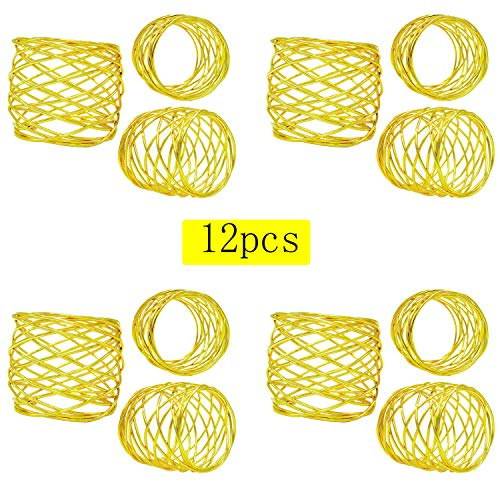 ZeeDix Set of 12 Gold Round Mesh Napkin Rings for Dinning Table Setting-Handmade Napkin Holder Rings for Holiday Party,Wedding Receptions,Christmas,Thanksgiving and Home Kitchen for Casual or Formal