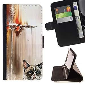 Momo Phone Case / Flip Funda de Cuero Case Cover - Gato enojado divertido - Samsung Galaxy A5 ( A5000 ) 2014 Version
