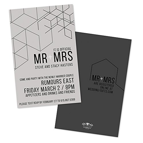 (Graphic Lines Personalized Wedding Reception Invitations)