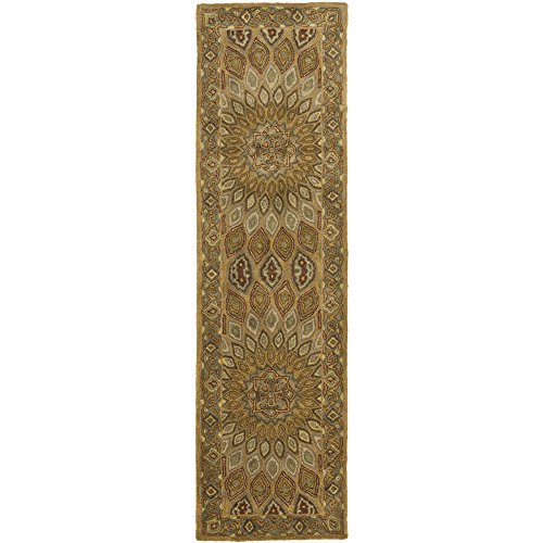 Safavieh Heritage Collection HG914A Handmade Traditional Oriental Light Brown and Grey Wool Runner (2'3 x 8′)