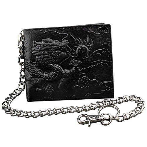 Black Dragon Wallet - Balck Top Quality Men Leather Vintage Dragon Wallet with Chain Card Holder Purse (Horizontal)