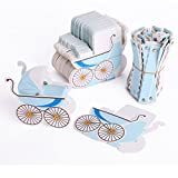 Baby Shower Candy Boxes, Lance Home 50PCS Baby Carriage Stroller Favour Gift Box Christening Baby Shower Party Favors (Blue)