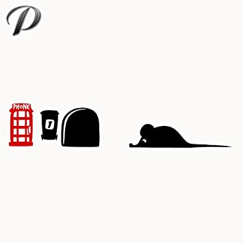 2pcs new funny mouse hole wall cute rats graphic decal vinyl decal for laptop window door