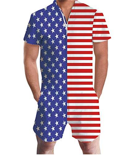Idgreatim Men Romper Personalized American Flag Printed Zipper Shorts Rompers One Piece Slim Fit ()
