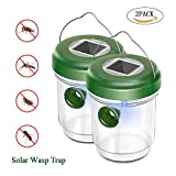 KOBWA 2PACK Solar Outdoor Wasp Trap Killer,Upgraded Wasp Trap Catcher,Bee Trap,Ultraviolet LED Light Waterproof for Trapping Wasps, Hornets, Yellow Jackets, Hornet and Bee,Bugs in Home Garden