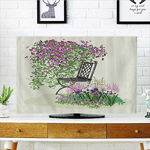 L-QN Cover for Wall Mount tv Island for Relaxing in The Garden Amg The Flowers Blooming Summer Artwork Cover Mount tv W32 x H51 INCH/TV 55""