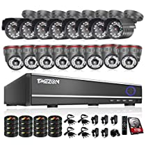 TMEZON 16CH 960H DVR CCTV Security Cameras System w/ 8 Outdoor Bullet + 8 Indoor Dome 900TVL HD IR Cut Video Surveillance Cameras P2P Mobile View 1TB HDD