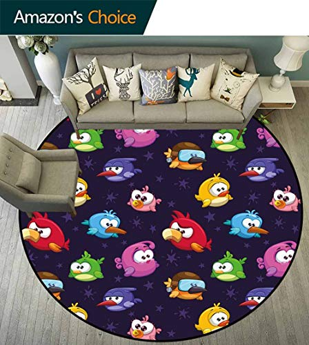 Funny Round Rug Rustic,Angry Flying Birds Figure with Various Expressions Game Toy Kids Babyish Artsy Image Room's Decor,Multicolor,D-79 -